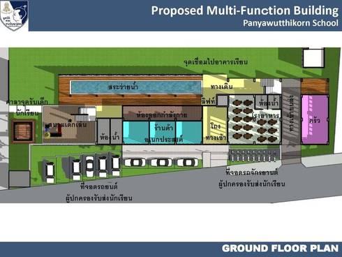 อาคารอเนกประสงค์ โรงเรียนปัญญาวุฒิกร มูลนิธิช่วยคนปัญญาอ่อนแห่งประเทศไทย ในพระบรมราชินุปถัมภ์ :   by iamarchitex