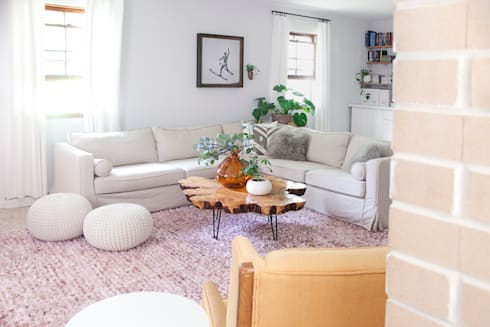 Replacement slipcovers: IKEA Karlstad Sectional Sofa with linen covers: classic Living room by Comfort Works Custom Slipcovers