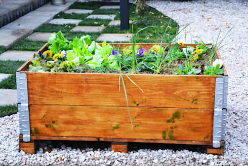 Recycled shipping pallets for an organic vegetable garden planter: industrial Garden by Acton Gardens
