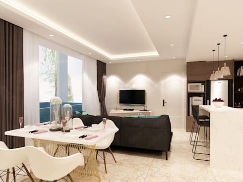 Studio Apartment – Art Deco:  Ruang Makan by iugo design