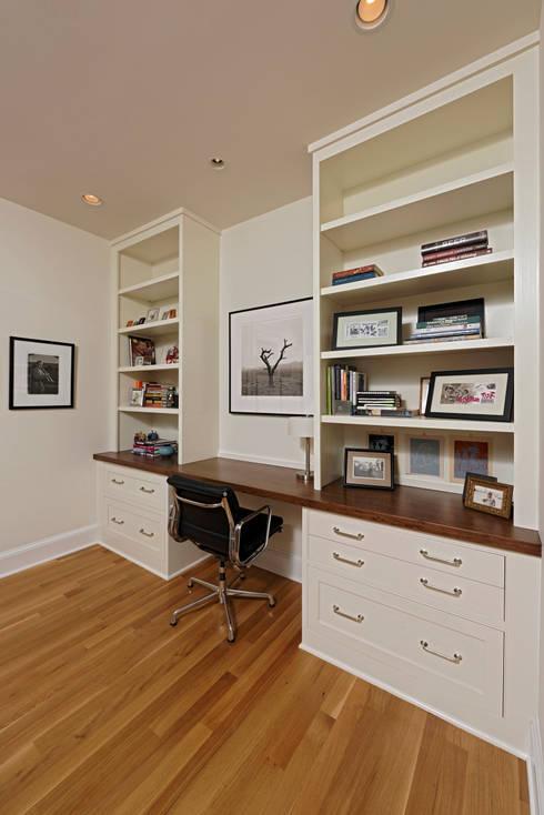 Stylish First-Floor Bungalow Renovation in Arlington, VA : minimalistic Study/office by BOWA - Design Build Experts