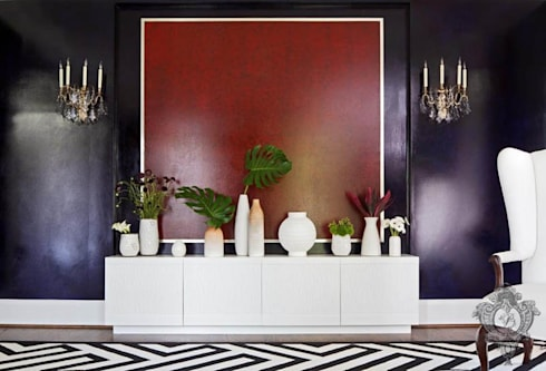 Accent Wall: eclectic Living room by Kellie Burke Interiors