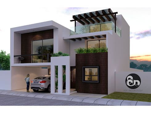Fachada Principal: Casas de estilo moderno por ECNarquitectura