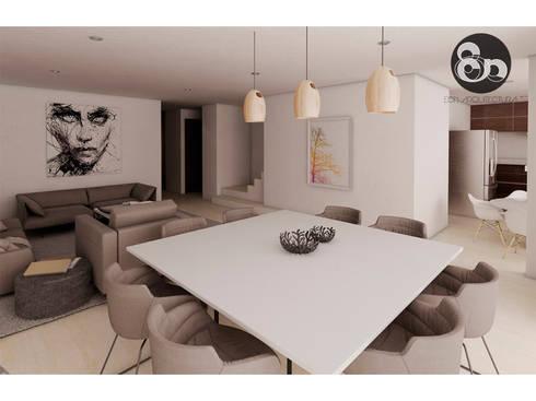 Sala y Comedor: Comedores de estilo moderno por ECNarquitectura