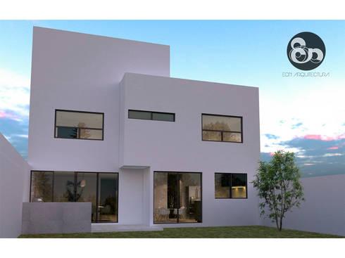 Fachada trasera: Casas de estilo moderno por ECNarquitectura