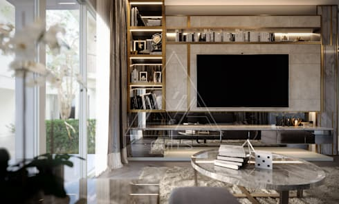 Project : Supakorn private home:  ห้องนั่งเล่น by pyh's interior design studio