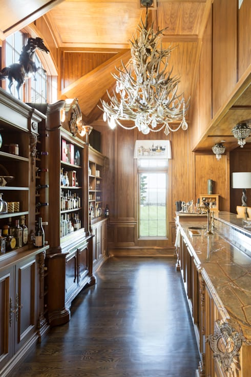 Bar Room:  Media room by Kellie Burke Interiors