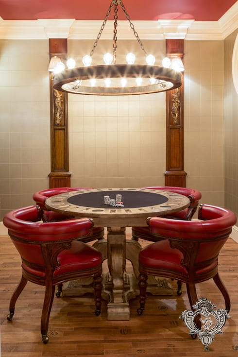 Poker Room:  Media room by Kellie Burke Interiors