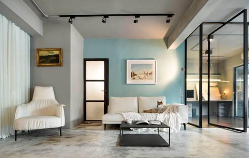 點線面的視覺客廳:  客廳 by 磨設計