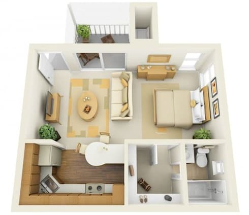 Sample 3D render of a studio apartment:   by The Design Co.