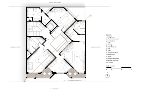 Second Floor Plan of Residential Bungalow at Indore, Madhya Pradesh:   by SDMArchitects