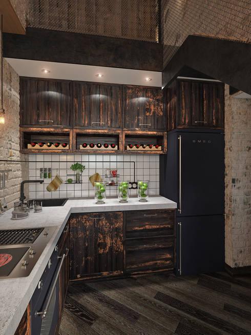 Cocinas de estilo industrial por Арт Реал Дизайн