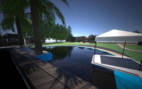 Centro de eventos, Codigua, Melipilla.: Estanques de jardín de estilo  por Toledo estudio Arquitectos