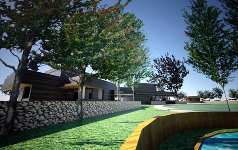 Centro de eventos, Codigua, Melipilla.: Casas unifamiliares de estilo  por Toledo estudio Arquitectos