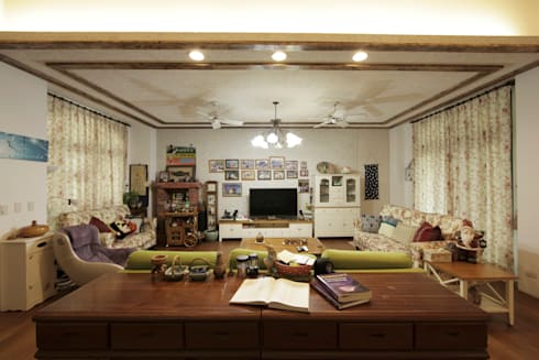 Lake View Villa 湖濱私別墅:  客廳 by DIANTHUS 康乃馨室內設計