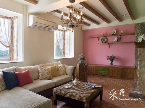 雙溪山居-鄉村風格:  客廳 by 采荷設計(Color-Lotus Design)