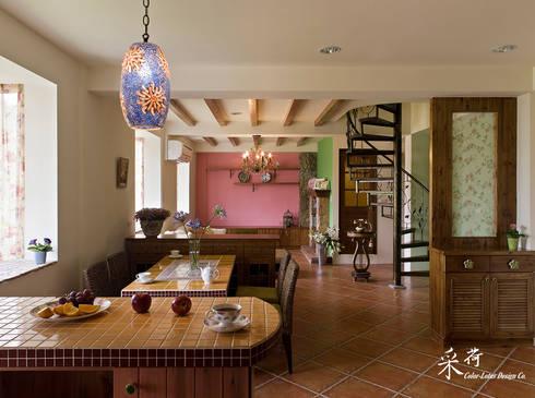 雙溪山居-鄉村風格:  餐廳 by 采荷設計(Color-Lotus Design)