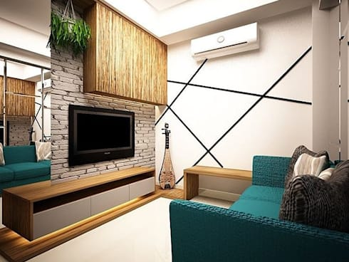 Living room:  Ruang Keluarga by aidecore