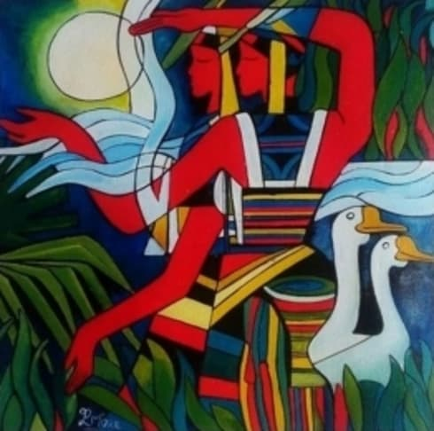 Village couple 1:  Artwork by Indian Art Ideas