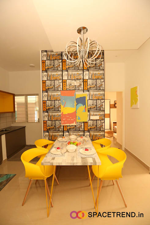 2BHK Flat : eclectic Dining room by Space Trend