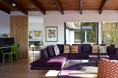 Paradise Lane, Litchfield County, CT: modern Living room by BILLINKOFF ARCHITECTURE PLLC