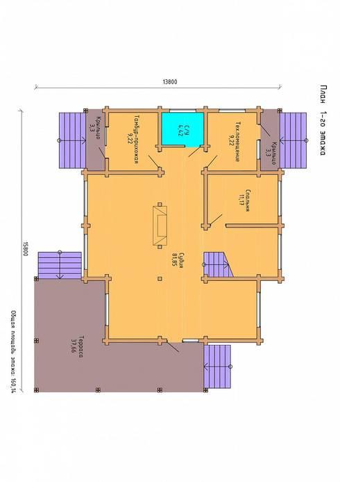 план 1-го этажа:  в . Автор – ООО 'Студия Клееного Бруса'
