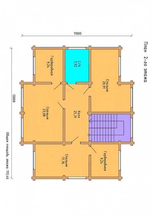 план 2-го этажа:  в . Автор – ООО 'Студия Клееного Бруса'
