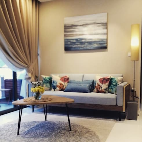 Project @ The Bently Residences: scandinavian Living room by ab1 Abode Pte Ltd