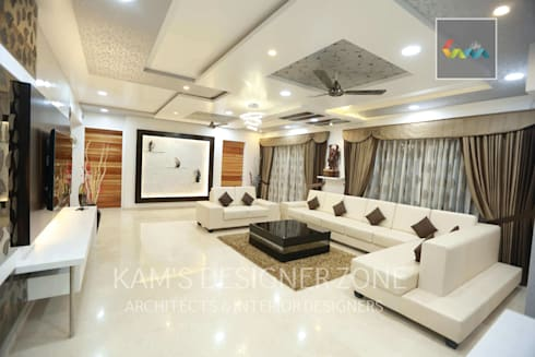 Living Room Interior Design: colonial Living room by KAM'S DESIGNER ZONE