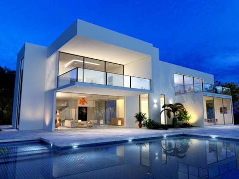 White villa with outdoor pool:  Villas by homify demonstration profile