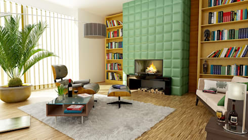 Cosy living room with fireplace: modern Living room by homify demonstration profile
