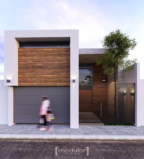 Fachada G803: Casas unifamiliares de estilo  por Modulor Arquitectura
