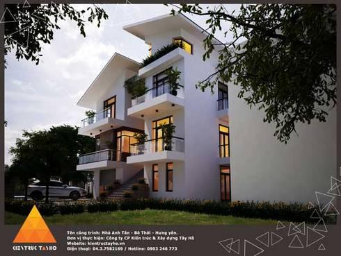 Phối cảnh Kiến trúc nhìn từ bên phải:  Nhà by KIẾN TRÚC TÂY HỒ