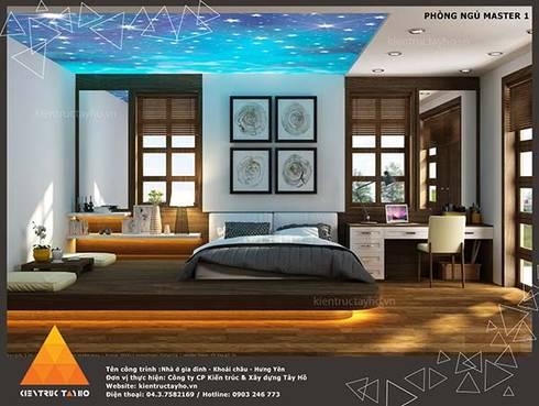 Phòng ngủ Master view1:  Phòng ngủ by KIẾN TRÚC TÂY HỒ