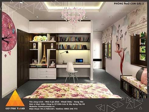 Phòng ngủ con gái view2:  Nhà gia đình by KIẾN TRÚC TÂY HỒ