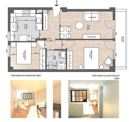 Propuesta de diseño de interior con redistribución de cocina , baño y salón:  de estilo  por Fityourhouse AD & Home Staging