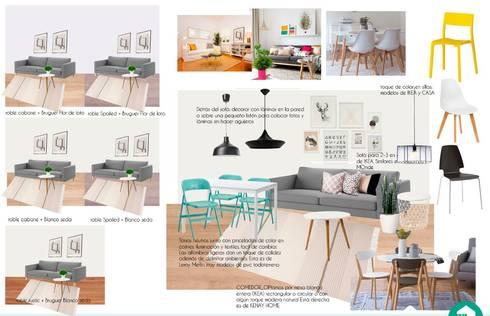 Propuesta de estilismo para zona de día. Materiales , mobiliario y colores:  de estilo  por Fityourhouse AD & Home Staging