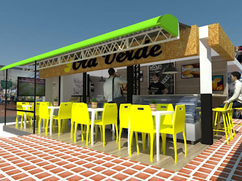 Diseño Cafetería : Paredes de estilo  por Naromi  Design