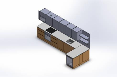 Design Automation for Metal & Wood Kitchen Cabinet: modern Kitchen by TrueCADD