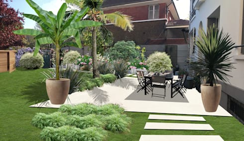 Jardin fleuri aux touches exotiques asni res sur seine 92 par sophie coulon architecte - Ikea outils jardin asnieres sur seine ...