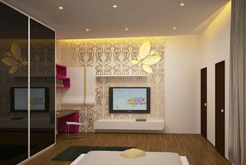 Apartment Interiors: asian Bedroom by M/s GENESIS