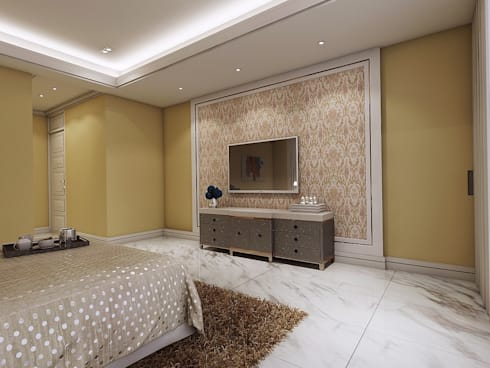 臥室1電視牆:   by 木皆空間設計