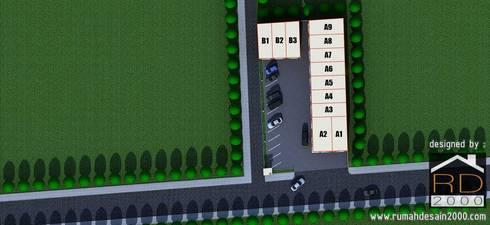 Site plan ruko minimalis 2 lantai:  Kantor & toko by Rumah Desain 2000