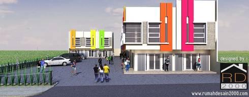 Tampak depan ruko minimalis 2 lantai:  Kantor & toko by Rumah Desain 2000