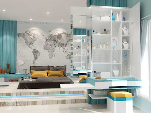 <q class='-first'>BEACH</q> concept for kids bedroom:  Kamar Tidur by AIRE INTERIOR