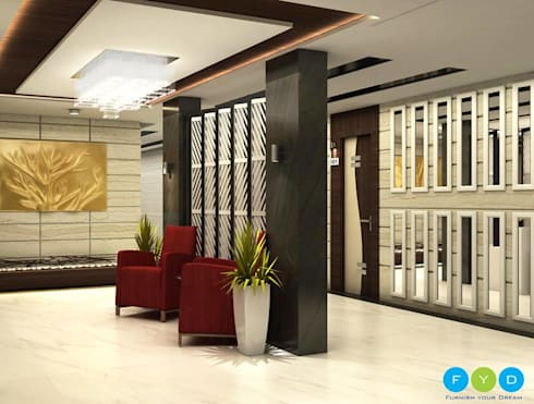 A tastefully designed studio apartment lift lobby with Custom lighting, furniture and accessories.:  Corridor & hallway by FYD Interiors Pvt. Ltd