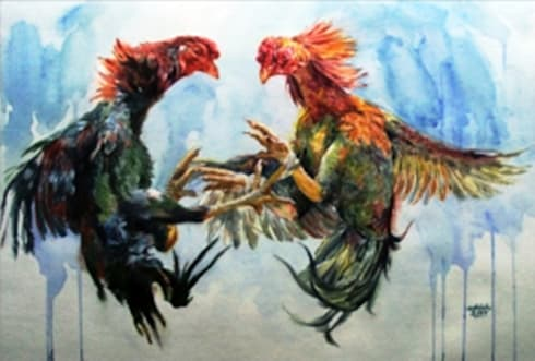 Cockfight:  Artwork by Indian Art Ideas