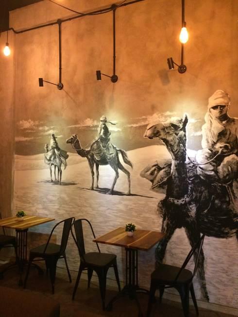 Nefes ID Cafe G-Walk Surabaya:  Dinding by JM Interior Design