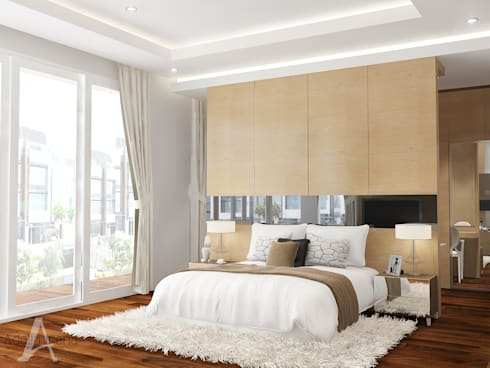 Master Bedroom:  Kamar Tidur by AIRE INTERIOR
