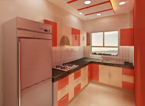3 Bedroom Independent Floor:  Built-in kitchens by Srijan Homes